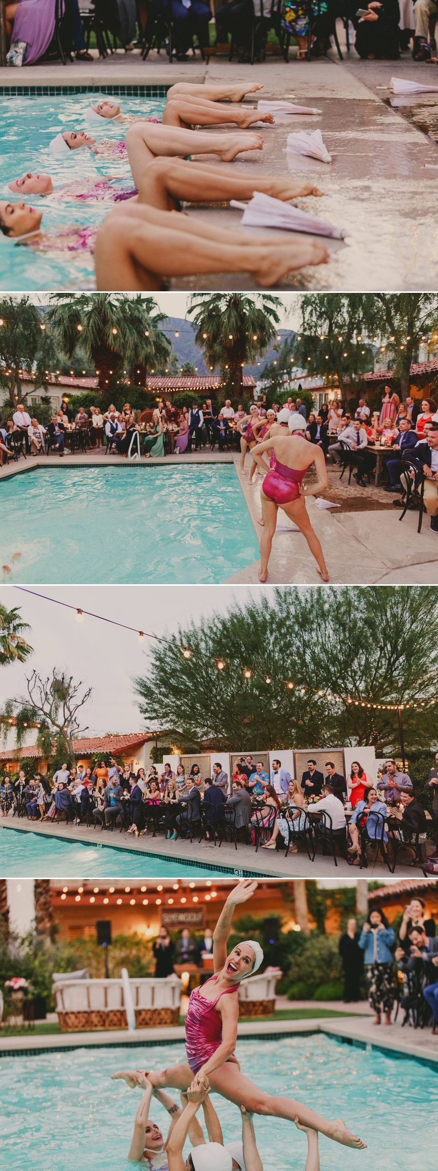 synchronized swimmers at wedding